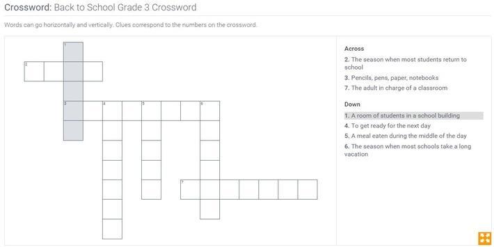 Back to School | Grade 3 Crossword