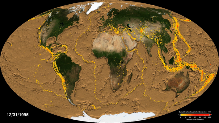 Global Earthquake Activity and Seafloor Features