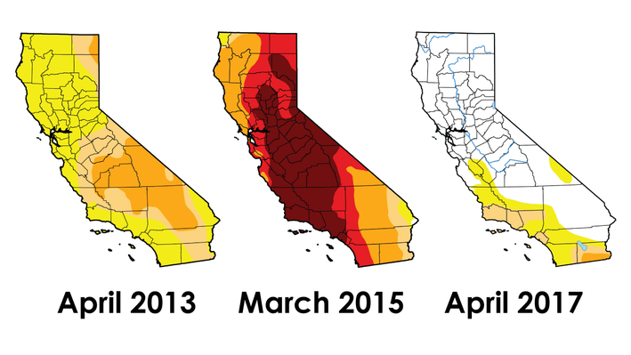 Maps of California's Drought Conditions in 2013, 2015, and 2017