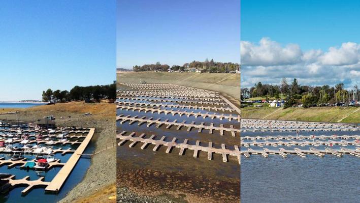 Folsom Lake Marina in 2013, 2015, and 2017