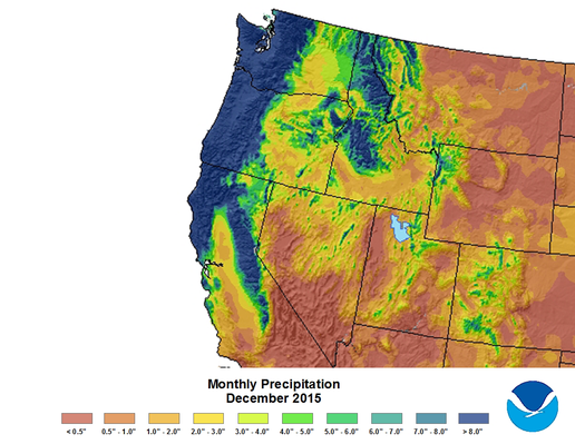 December 2015 Precipitation Amounts for the Pacific Northwest