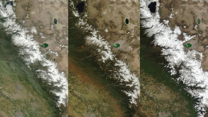 Snowpack Changes in the Sierra Nevada Mountains, 2013, 2015, and 2017