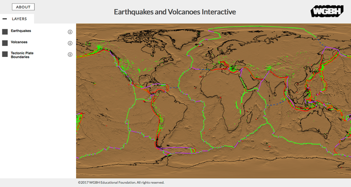 Earthquakes and Volcanoes Interactive