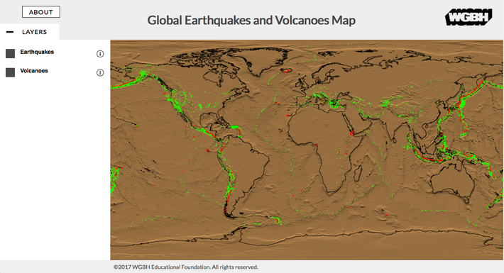 Global Earthquakes and Volcanoes Map