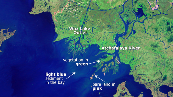 Atchafalaya Bay Deltas with Labeled Features
