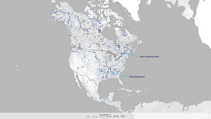 North American Rivers and Their Widths