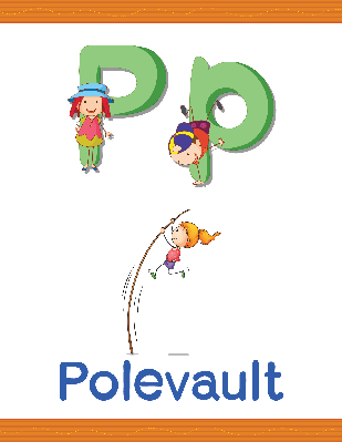 "Learn Alphabet Worksheet: P (for ""polevault"") 