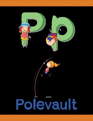 "Learn Alphabet Worksheet: P (for ""polevault"") | Clipart"