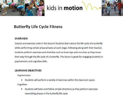 Butterfly Life Cycle Fitness Lesson Plan