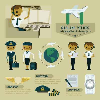 Airline Pilot Info Graphics and Characters | Clipart