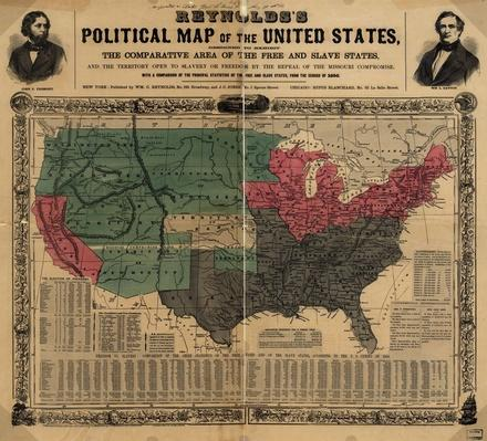 Political Map of the United States, 1856