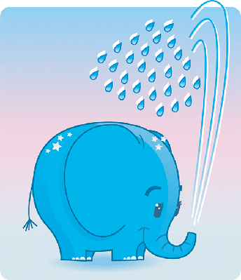 Cute Elephant Is Taking a Shower | Clipart