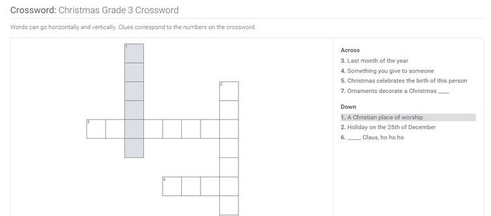 Christmas | Grade 3 Crossword