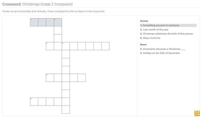 Christmas | Grade 2 Crossword