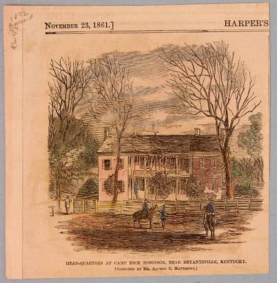 a printing showing Camp Dick Robinson. A large whitehosue is in the background with union soldiers on horses in the foreground.