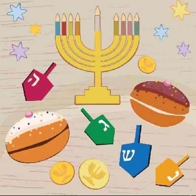Hanukkah: Colorful Symbols   Clipart