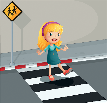 Young Lady Crossing the Pedestrian Lane | Clipart