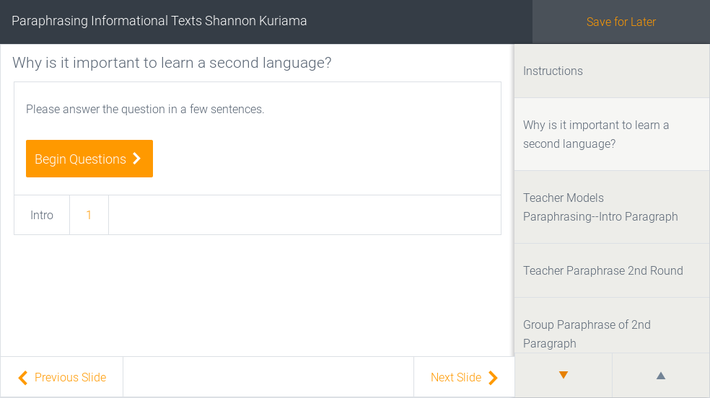 Paraphrasing Informational Texts Shannon Kuriama