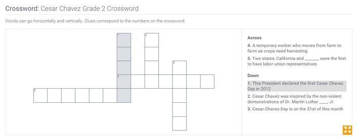 Cesar Chavez | Grade 2 Crossword