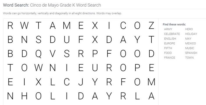 Cinco de Mayo | Grade K Word Search