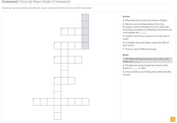 Cinco de Mayo | Grade 3 Crossword