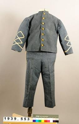 a gray child-sized confederate uniform that was worn as entertainment during an event