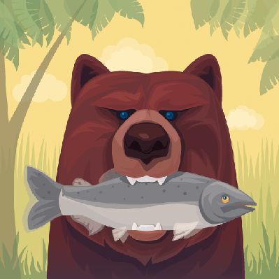 Grizzly Catching Salmon | Clipart