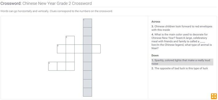 Chinese New Year | Grade 2 Crossword