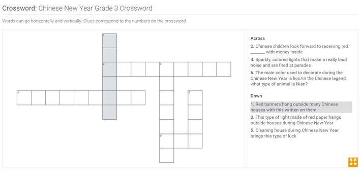 Chinese New Year | Grade 3 Crossword