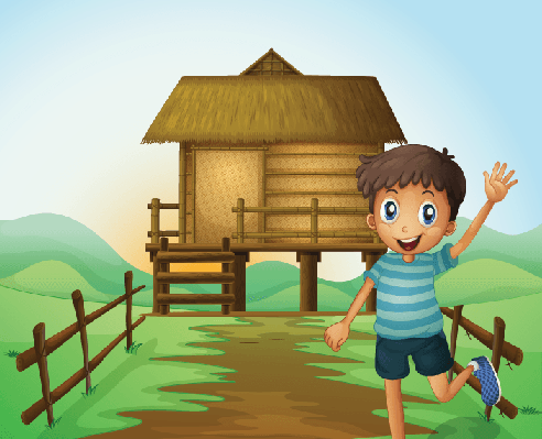 Boy Waving His Hand in Front of A Nipa Hut | Clipart