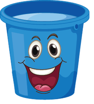 Buckets with Faces - Blue, Happy | Clipart