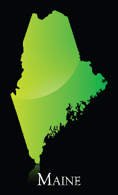 Maine Green Shiny Map | Clipart