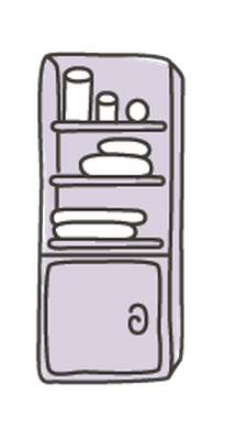 Various Types of Furniture for Bathroom in Elegant Style - Set of 14 | Clipart