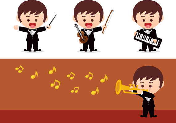Music Orchestra with Banner | Clipart