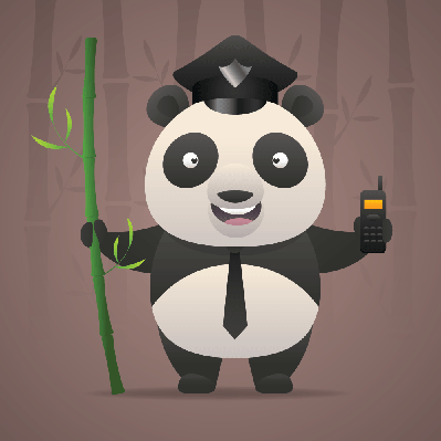 Panda Policeman Holds Radiophone | Clipart