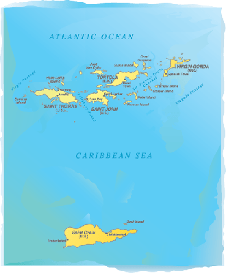 Virgin Islands Map -  Watercolor Style | Clipart