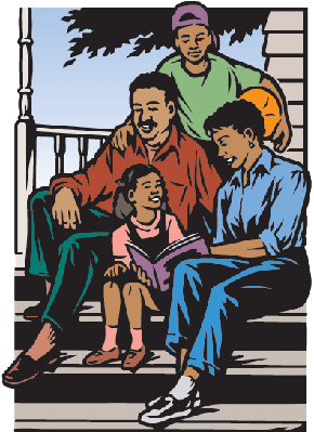 Family Sitting on Porch Color | Clipart