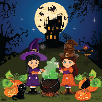 Landscape of Witches Halloween | Clipart