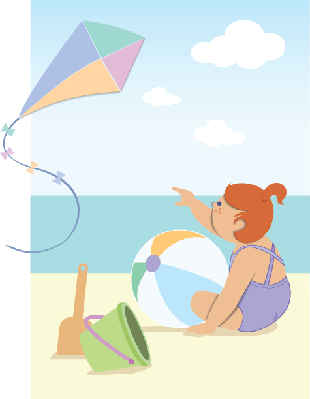 Little Girl At The Sea | Clipart