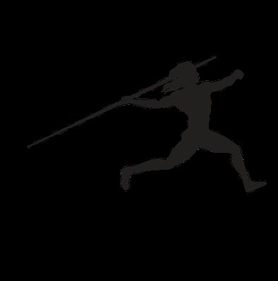 Women's Javelin - Approach Run, B&W | Clipart