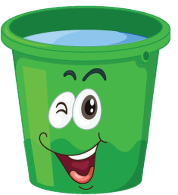 Buckets with Faces - Green, Winking | Clipart