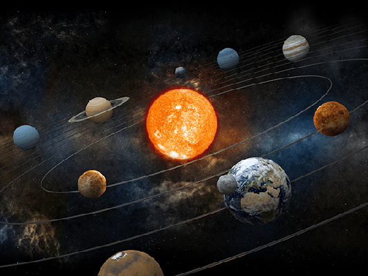 Sun and Nine Planets Orbiting | Clipart