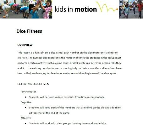 Fitness Dice  Lesson Plan  Mathematics Health And Physical