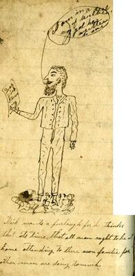 drawing of a man holding a letter