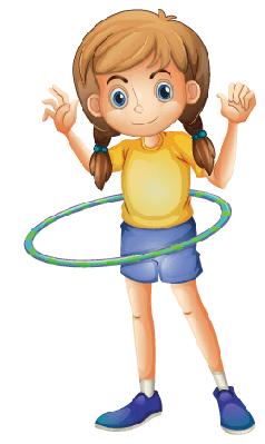 Young Girl Playing With the Hulahoop | Clipart