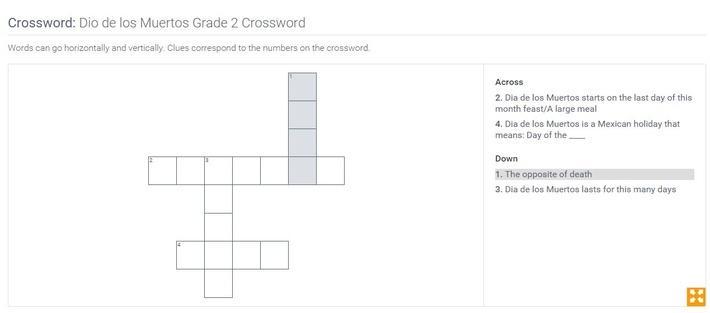 Dio de los Muertos | Grade 2 Crossword