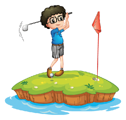 Young Man Playing Golf | Clipart