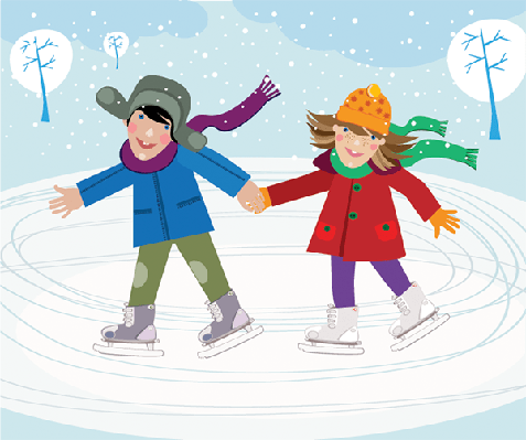 Children Skating in the Park | Clipart