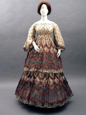 long red, blue, and white Civil War era dress