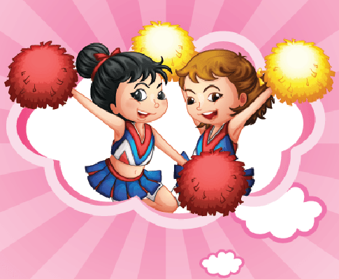 Two Young and Energetic Cheerdancers | Clipart